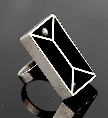 Swedish Modernist Sterling Shadow Box Ring - 1970's Sweden