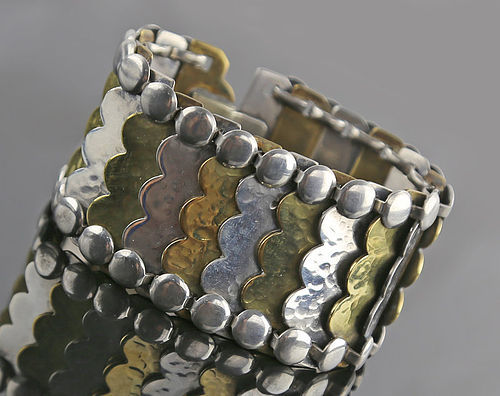 Rebajes Modernist Sterling and Brass Segmented Bracelet 1950 Rare Form