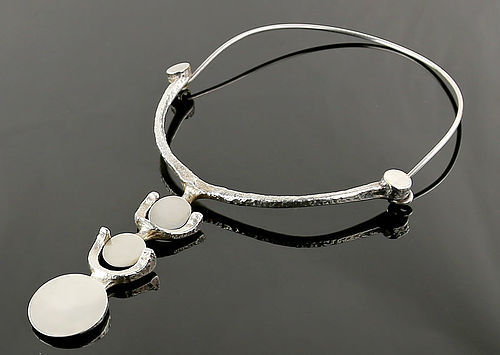 Jacob Hull Modernist Silver Plate Necklace Denmark 1970