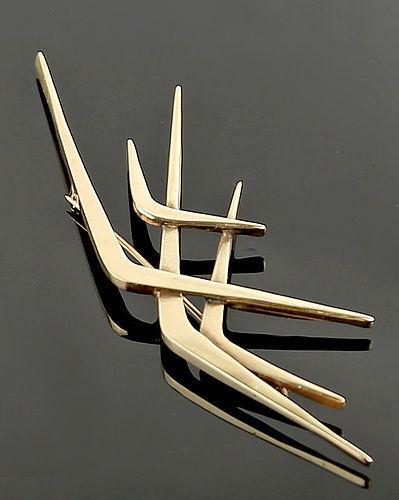 Rurh Berridge Modernist 14K Gold Brooch Mid 20th Century