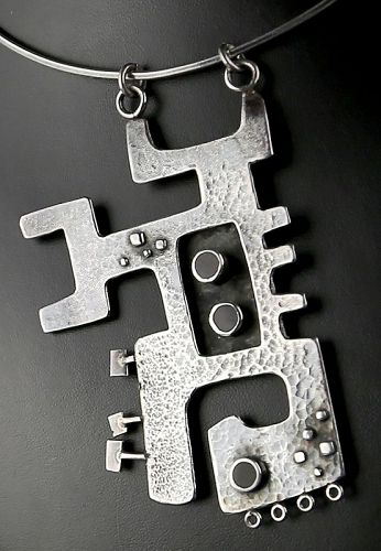 Modernist Sterling Silver Abstract Necklace - 1950