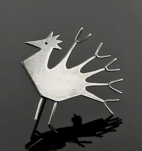Betty Cooke Modernist Sterling Peacock Brooch - 1950