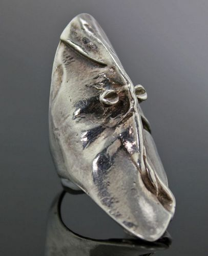 Bjorn Weckstrom Lapponia Sterling Mask of Gonda Ring 1970 Finland