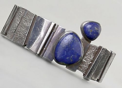 Jan Lohmann Modernist Sterling and Lapis Bracelet Denmark