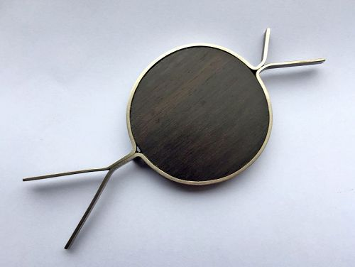 Betty Cooke Modernist Sterling and Ebony Brooch Mid 20th Century