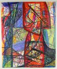 Rolph Scarlett Expressionist Oil Pastel Painting Mid 20th Century