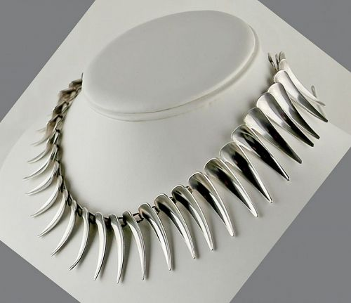 Atelier Borgila Modernist Sterling Necklace Sweden 1950's
