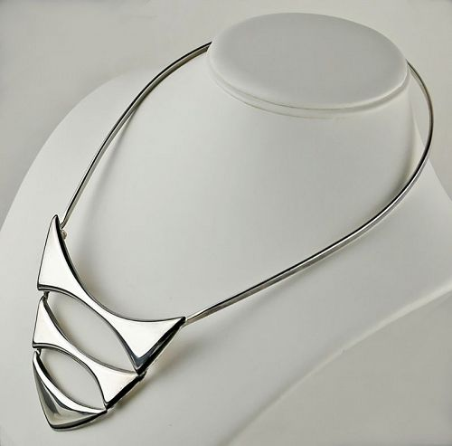 Franz Scheurle Modernist Sterling Necklace - Germany 1960's