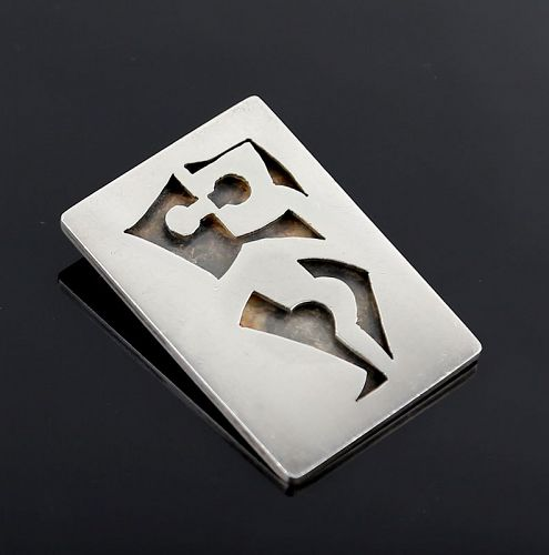 John F. Dreibelbis Modernist Sterling Abstract Brooch 1950