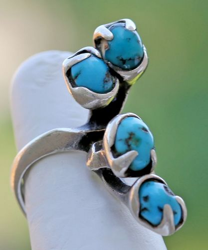 Gerald Stinn Modernist Sterling and Turquoise Organic Ring