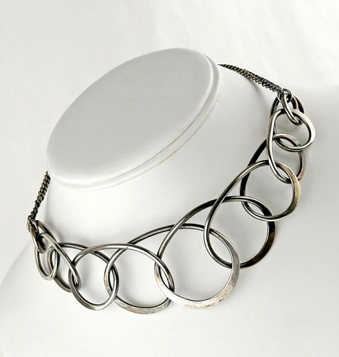 Henry Steig Modernist Sterling Necklace Mid Century Modern 1950