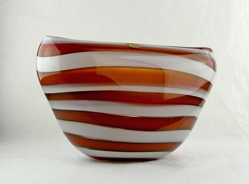 Leerdam Modernist Banded Art Glass Vase Mid 20th Century Holland