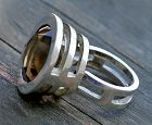 Danish Modernist Sterling And Smokey Quartz Ring Mid 20th Century