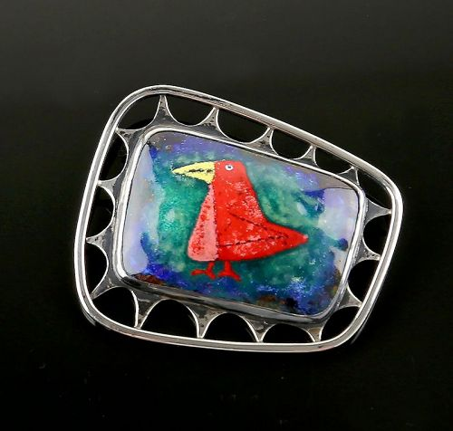 Mid Century Modernist Sterling and Enamel Brooch 1950