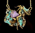 Handcrafted Surrealistic Bronze necklace with Nude 1980's