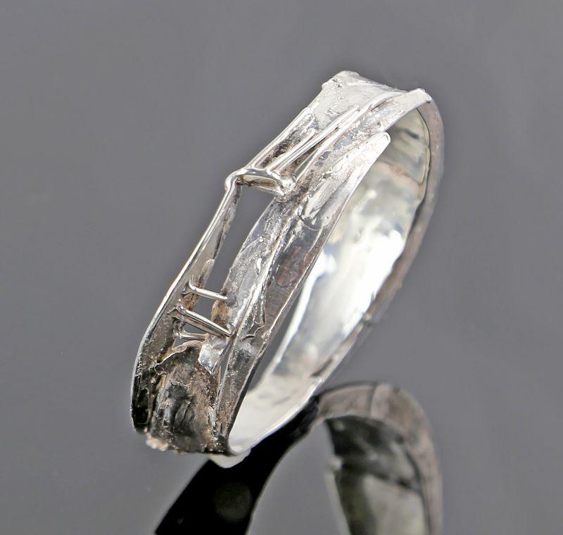 Brutalist Sterling Silver Bangle Bracelet - Studio Modernism