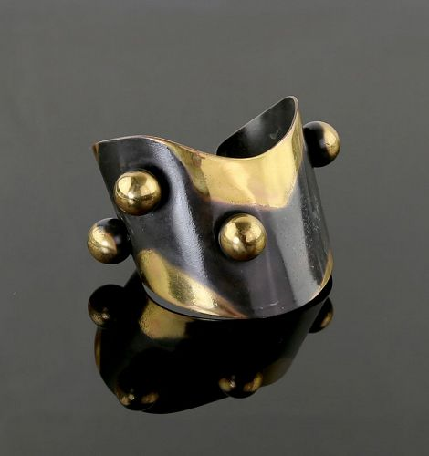Art Smith Modernist Four Ball Cuff Bracelet 1950's