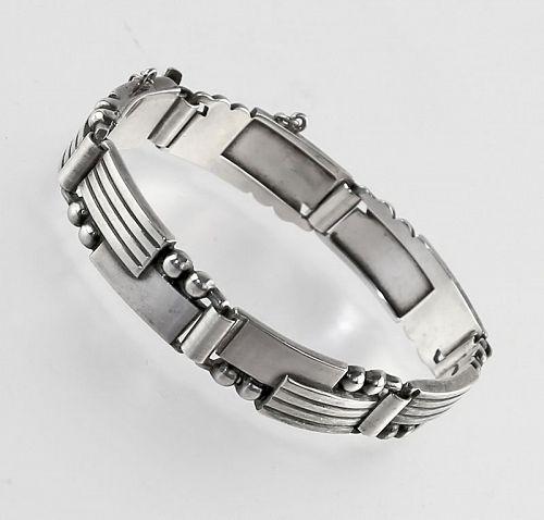 Charles Ruopoli Machine Age Modernist Sterling Bracelet