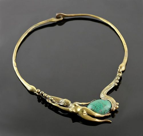Stephen Burr Modernist Cast Brass and Turquoise Necklace 1970