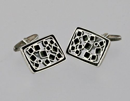 Sterling Modernist Cuff Links 1950s Mens Fashion