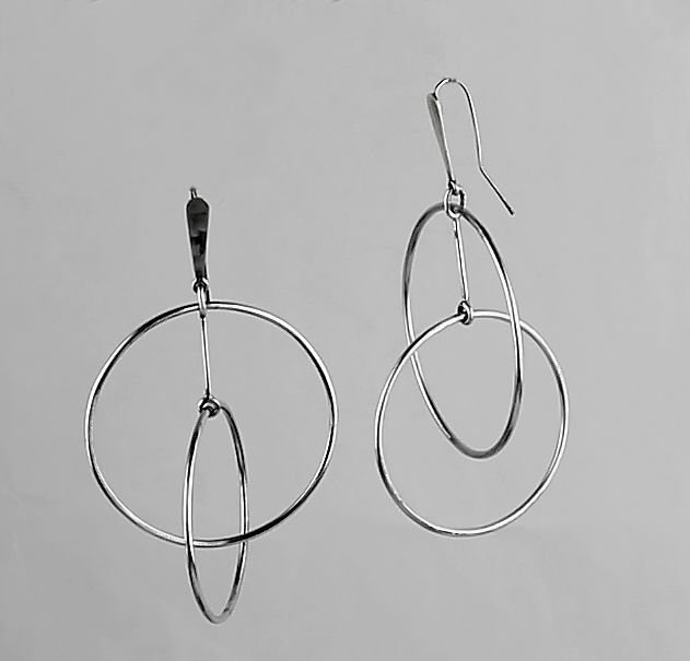 Art Smith Modernist Silver Kinetic Earrings - 1950
