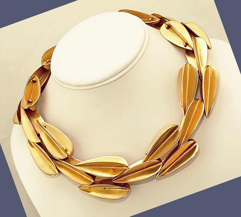 "Robert Lee Morris ""Dart"" Gold Plated Necklace Post Modernist Design"