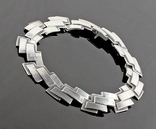 Los Castillo Modernist Sterling Necklace Taxco Mexico 1940s