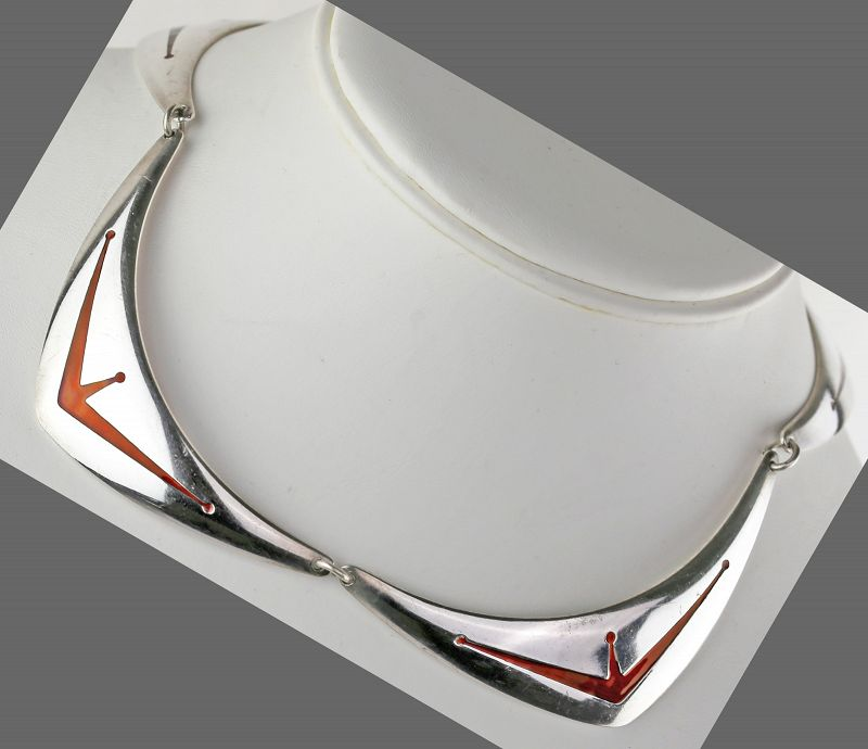 Meka Sterling and Enamel Modernist Necklace Denmark