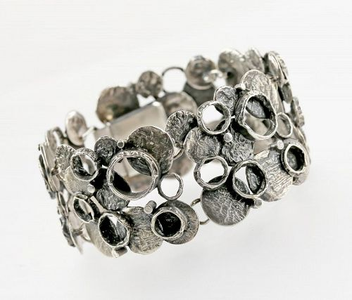 Perli Modernist Silver Bracelet Germany Mid 20th Century