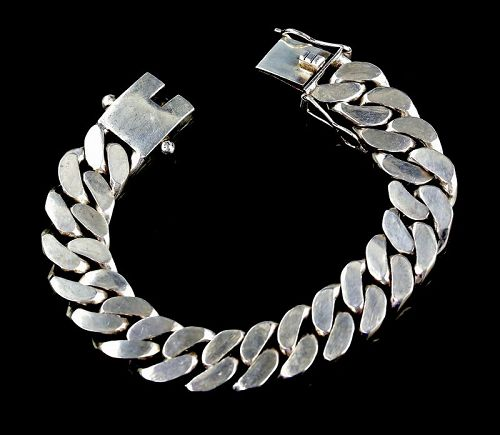 "Heavy and Solid Men's Sterling Curb Bracelet - 8 1/2"" Long"
