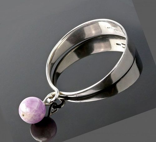 Hans Hansen Modernist Sterling and Amethyst Kinetic Bracelet Denmark