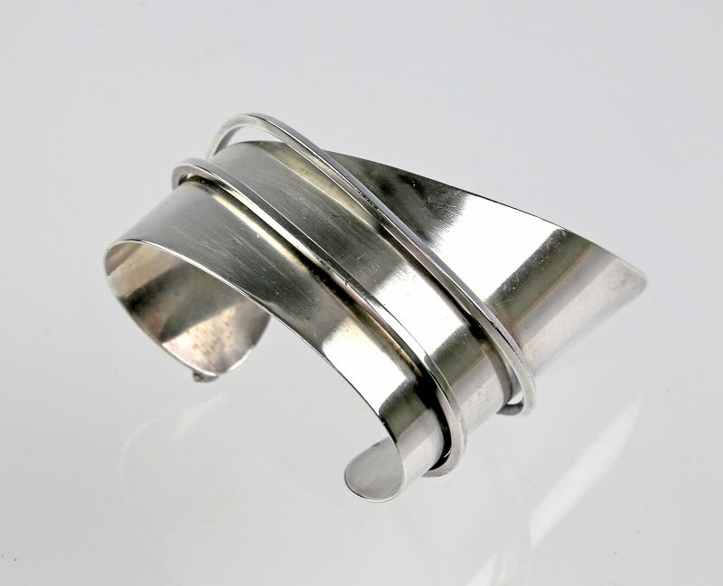 Ella Cone Modernist Sterling Cuff Bracelet Mid 20th Century