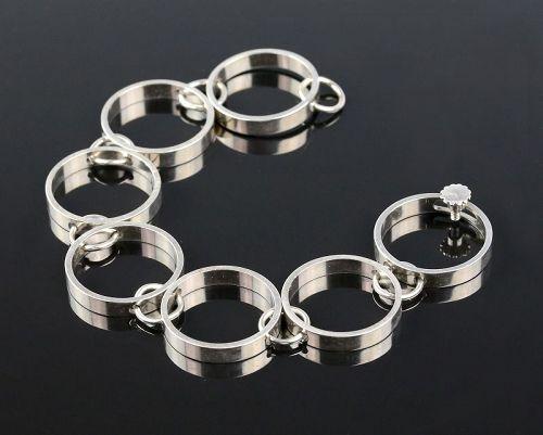 Hans Hansen Modernist Sterling Bracelet Denmark Mid 20th Century