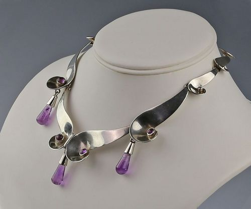 Mexican Sterling and Amethyst Necklace Mid 20th Century