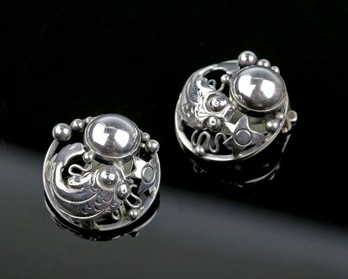 N.E.From Sterling Fish Earrings Denmark Art Deco