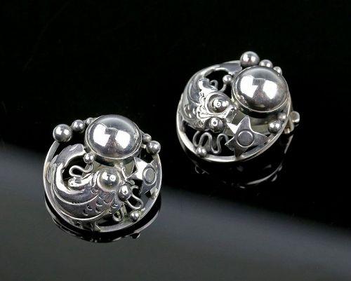 N.E.From Sterling Fish Earrings Denmark Art Deco