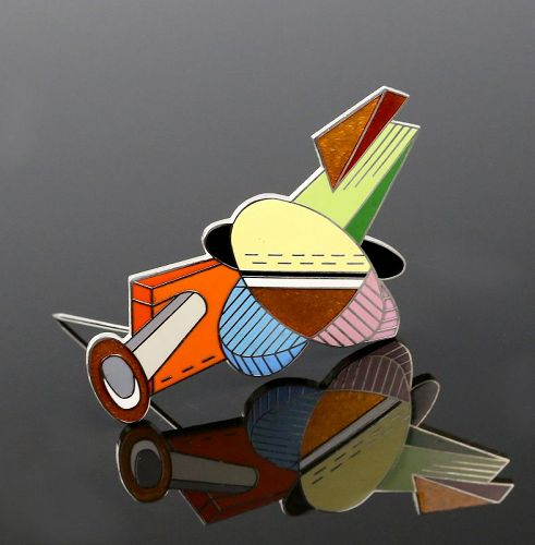 Acme Studio Post Modernist Enamel Brooch Adrian Olabuenaga 1980