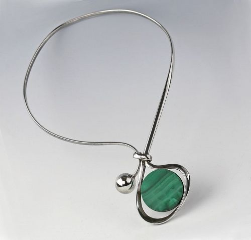 K.E. Palmberg Modernist Sterling and Malachite Necklace Alton Sweden