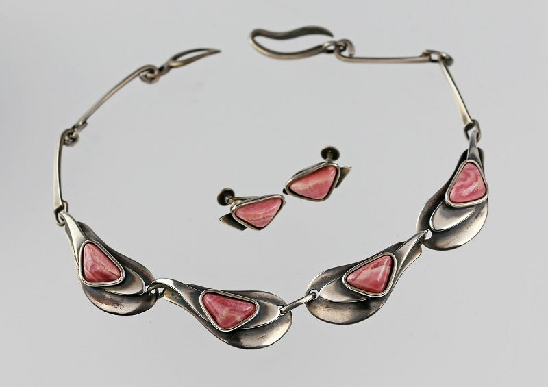 Maxwell Chayat Modernist Sterling and Rhodocrosite Necklace Set 1950s