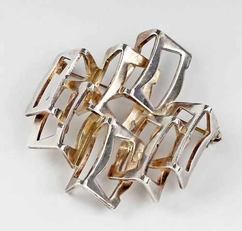 Rey Urban Modernist Sterling Brooch Denmark Mid 20th Century