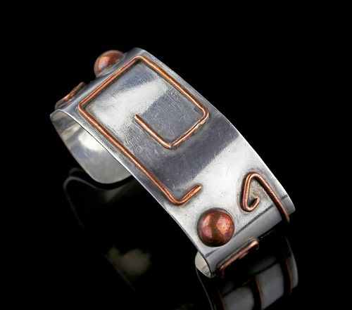 Carmen Beckmann Mexican Modernist Sterling and Copper Bracelet