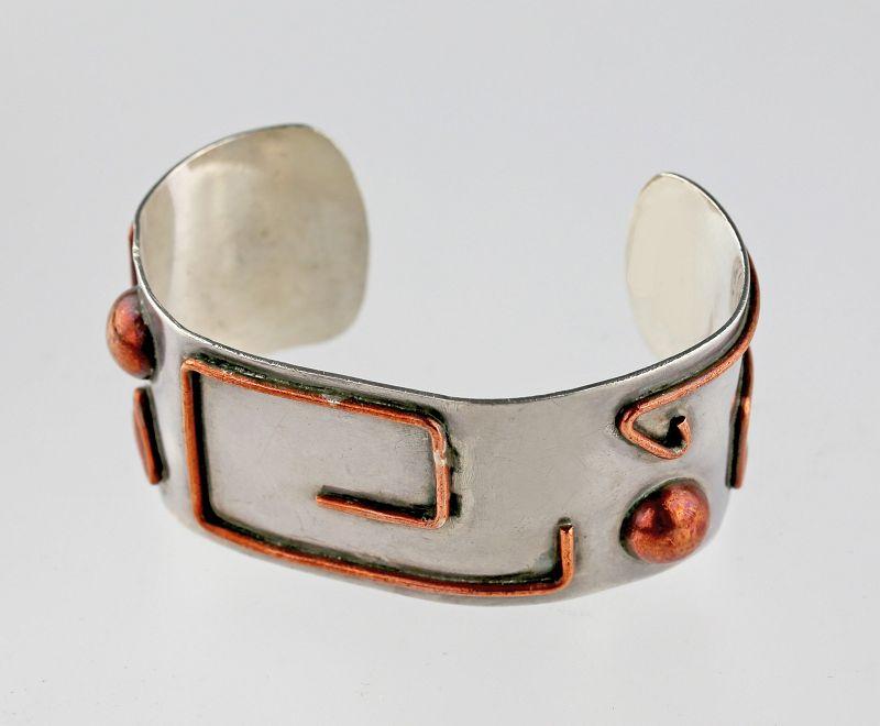 Carmen Beckmann Mexican Modernist Sterling and Copper Bracelet