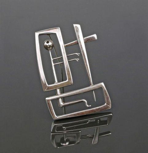 American Modernist Sterling Figurative Brooch Artisan - Hoover