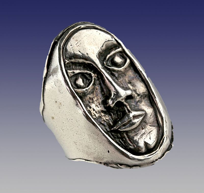 Modernist Sterling Silver Portrait Ring