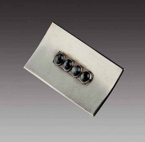 Kaunis Koru Modernist Sterling and Labradorite Brooch Finland 1964