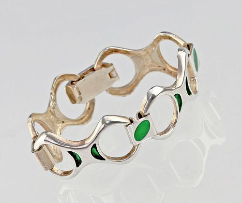 Italian Modernist Silver [800] and Enamel Bracelet