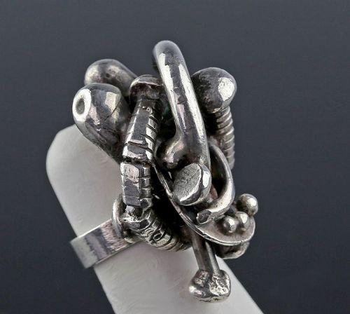 A Most Unusual Sterling Studio Brutalist Ring