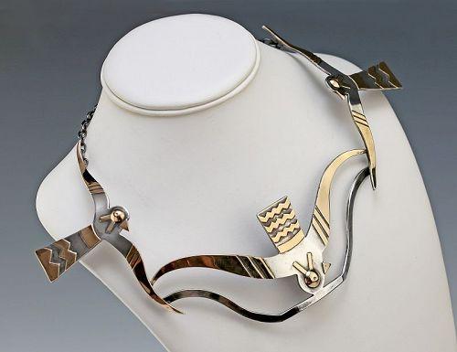 Graziella Laffi Modernist 18K Gold and Sterling Necklace Peru