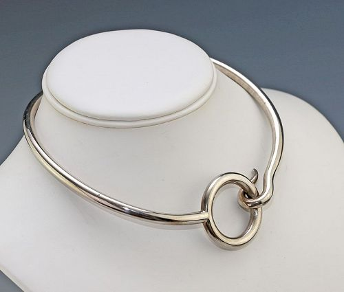 Puig Doria Modernist Sterling Choker Necklace Spain 1970