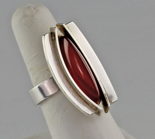 Elis Kauppi Modernist Sterling and Carnelian Ring Finland